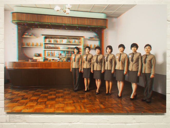 From left to right: AN YONG OK, 31 (Artist), PAK KUN JU, 23, JONG CHUN HUI, 23, U RYON MI, 28, LEE SONG JUK, 25, KIM HYANG MI, 20,(Waitresses), JONG YONG SIL, 42(Manager), Panmun Gak