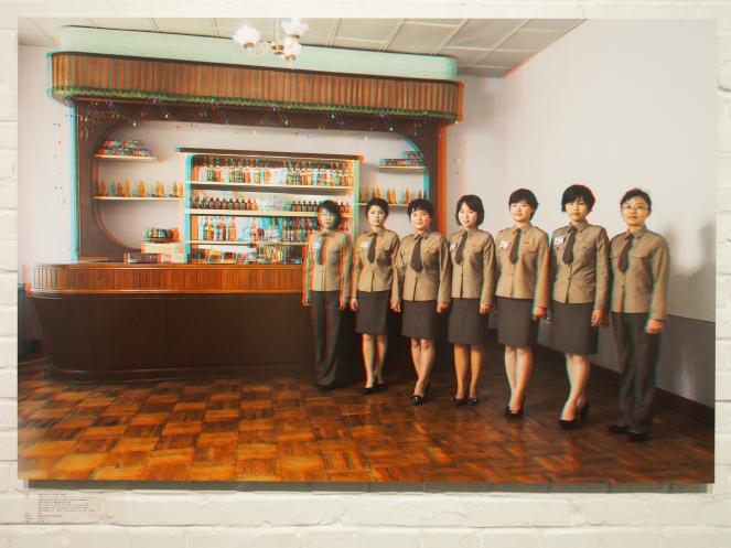 From left to right: AN YONG OK, 31 (Artist), PAK KUN JU, 23, JONG CHUN HUI, 23, U RYON MI, 28, LEE SONG JUK, 25, KIM HYANG MI, 20,(Waitresses), JONG YONG SIL, 42(Manager), Panmun Gak