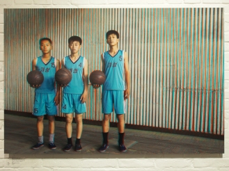 From left to right: RI BOM, 15, RYANG IL BOM, 15, RI SONG JIN, 15, Basketball Students, Kaesong Schoolchildren's Palace.