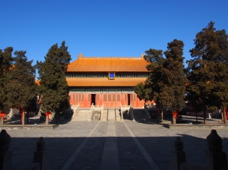 Built in the 9th year of the Jiajing period of the Ming dynasty (1530) the palace is constructed with a thickeave roof, spun gold Nan Mu wood pillars and a Jin Zhuan paved floor, all of which are regarded as the perfection of imperial construction.