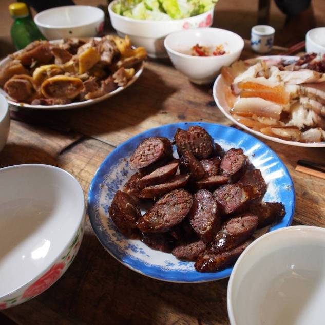 Delicious pork (or maybe water buffalo) sausage prepared as a traditional dish of the Vietnamese Hmong minority.