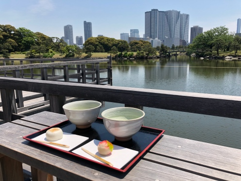 Matcha and Japanese rice flour pastries are served as traditional local refreshments in the tea house in the middle of the pond.